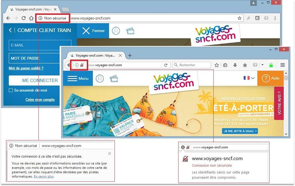 Traitement HTTP sur la page d'accueil du site, à gauche Chrome 56, à droite Firefox 51, depuis le 27 janvier 2017
