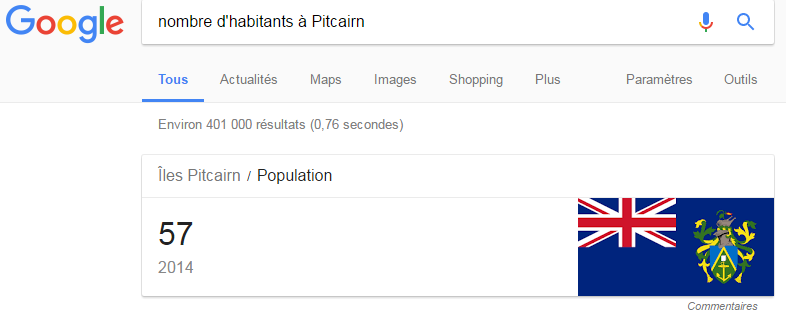 Google - Nb d'habitants à Pitcairn
