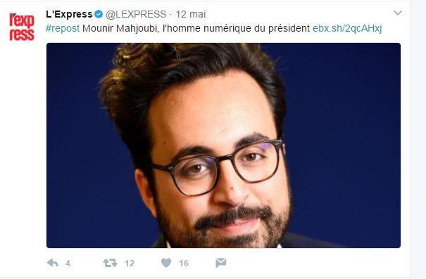 Twitter L'Express - Mounir Mahjoubi - cyber-blurring pour faire face aux cyberattaques