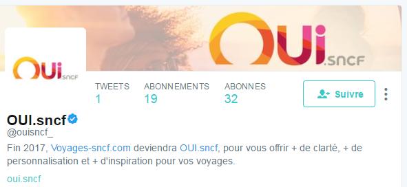 Compte Twitter de oui.sncf - exemple dot brand