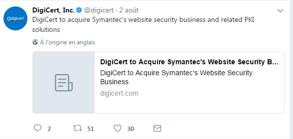 Compte Twitter de DigiCert - Digicert rachète l'activité certificats de Symantec