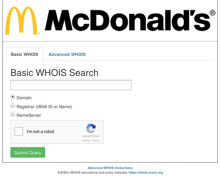 .brand, cas de McDonald's - Service WHOIS du .MCDONALDS