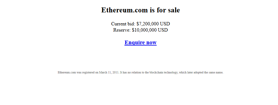 ethereum.com - Quand la domainosphère s'intéresse à la cryptomonnaie