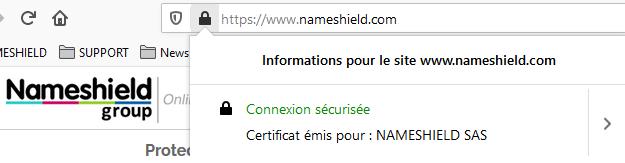 Certificat SSL EV - Nameshield
