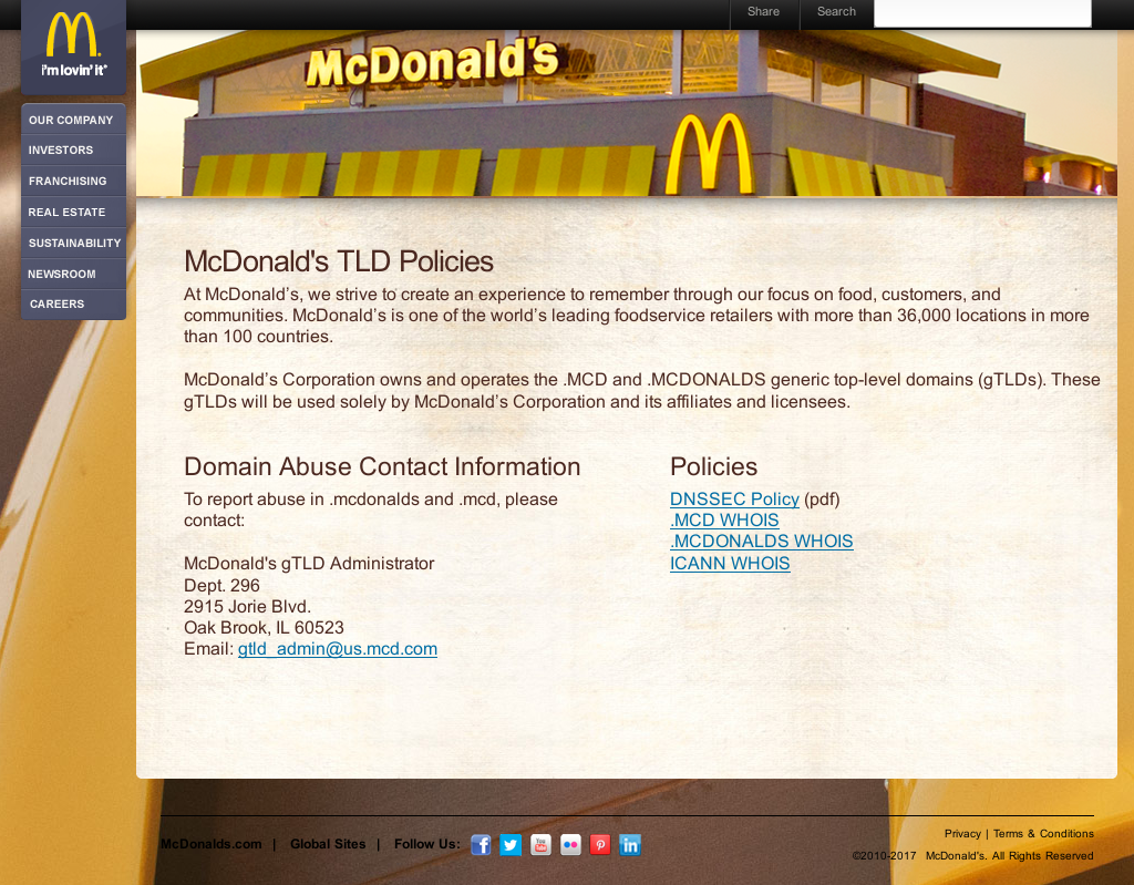 McDonald's Illustration: Home page of NIC.MCD