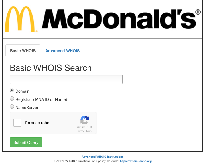 McDonald's Illustration : WHOIS of .MCDONALDS